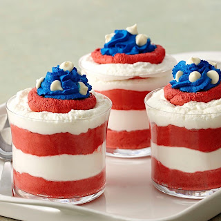 Red, White and Blue Mousse Parfaits.