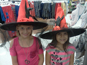 Photo: I went to look at shoes and my girls found these witch hats, they like to make me laugh when I get a little crabby, another fun part of being pre-menopausal.