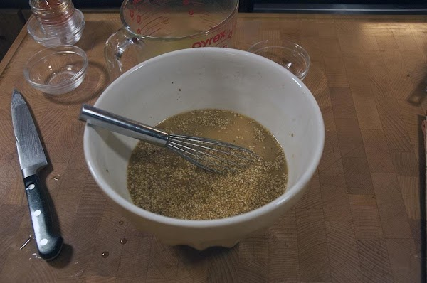 In a large (non-reactive) bowl, whisk together all the ingredients for the sauce, and...