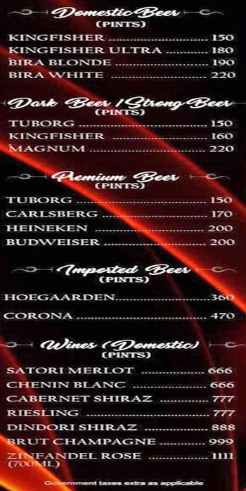 Royale MasterChef Lounge menu 1