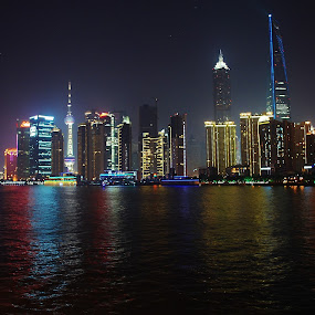 Cities Never Sleep by Megan Whitehead - City,  Street & Park  Vistas ( lights, night, cityscape, shanghai, china, city )