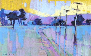 Photo: Old Sand Creek Road, Lemon Sky, pastel by Nancy Roberts, copyright 2014. Private collection.