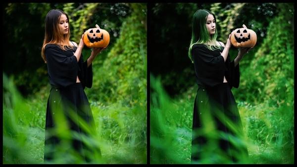 antes e depois da foto de uma mulher vestida de bruxa sendo que em uma foto ela está com cabelo verde