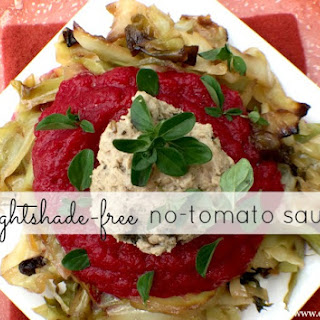 No-Tomato Sauce served with Braised Cabbage Noodles & Meatballs~ nightshade-free