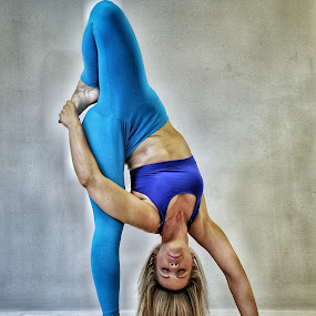 A different point of view by Ben Rohleder - Sports & Fitness Fitness ( blonde, girl, blue, fitness, mindful, exercise, relaxation, stretching, yoga )