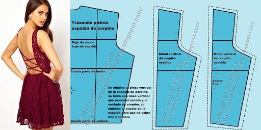 Trazo de patrón básico de espalda con dobles de tela