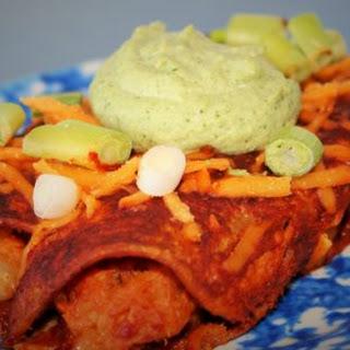 Smoky Sweet Potato and White Bean Enchiladas with Cilantro-Lime-Avocado Cashew Sauce