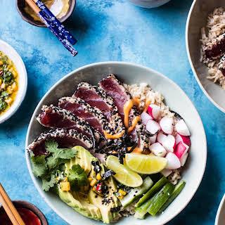Spicy Brown Rice Seared Tuna Roll Bowl with Mango Chimichurri..