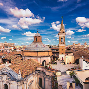 On The Roman Roofs by David Marjanovic - City,  Street & Park  Vistas ( sky, beauty, city, center, church, history, clouds, colors, beautiful, square, daylight, houses, sunny, day, architecture )