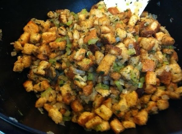all the seasonings mixed in with bread cubes