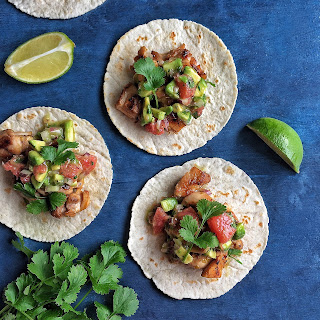 Gin & Lime Chicken Tacos with Grapefruit Salsa