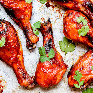 Baked Watermelon Barbecue Chicken Drumsticks.