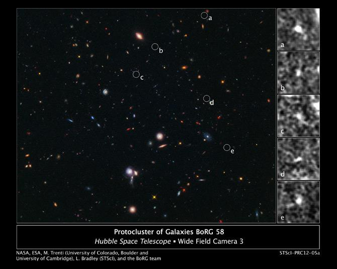 Photo: The composite image taken in visible and near-infrared light, reveals the location of five tiny galaxies clustered together 13.1 billion light-years away. The circles pinpoint the galaxies. Credit: NASA, ESA, M. Trenti (University of Colorado, Boulder and Institute of Astronomy, University of Cambridge, U.K.), L. Bradley (Space Telescope Science Institute, Baltimore), and the BoRG team  (University of Colorado, Boulder and Institute of Astronomy, University of Cambridge, U.K.), L. Bradley (Space Telescope Science Institute, Baltimore), and the BoRG team  Read more at: http://www.nasa.gov/mission_pages/hubble/science/far-protocluster.html