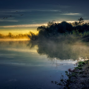 Enjoying the view at lake on a foggy morning  by Dražen Škrinjarić - Landscapes Waterscapes ( clouds, dreamy, mysterious, velika gorica, lake, zagreb, morning, dusk, cice, foggy, sky, lamp, sunrise, misty, golden hour )