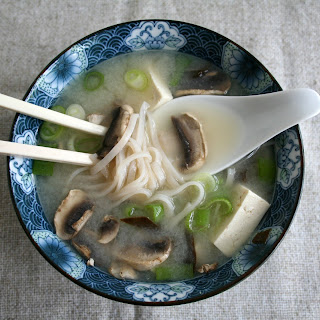 Miso Soup with Tofu and Mushrooms.