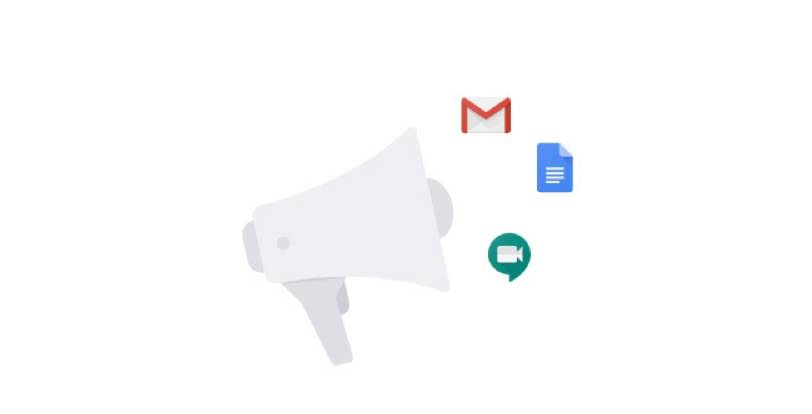 Build excitement for what's possible icon. A bullhorn with G Suite apps floating above it.
