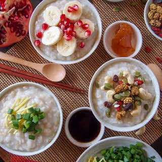 Brown Rice Porridge with Toppings (Teochew Style).