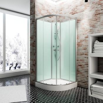 Cabine de douche intégrale quart de cercle, 90 x 90 cm, Ibiza