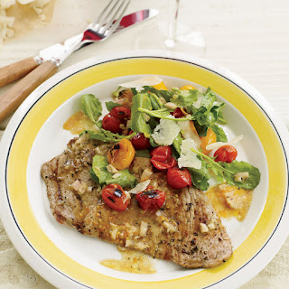 Veal Scallopine with Charred Cherry Tomato Salad.