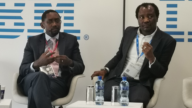 Dr Solomon Assefa, VP for emerging market solutions and director at IBM Research, Africa and Professor Zeblon Vilakazi, Wits' deputy vice-chancellor: Research and Postgraduate Affairs;during a press conference this morning.