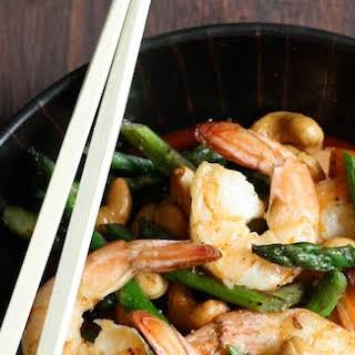 Buttery Shrimp with Asparagus & Cashews.