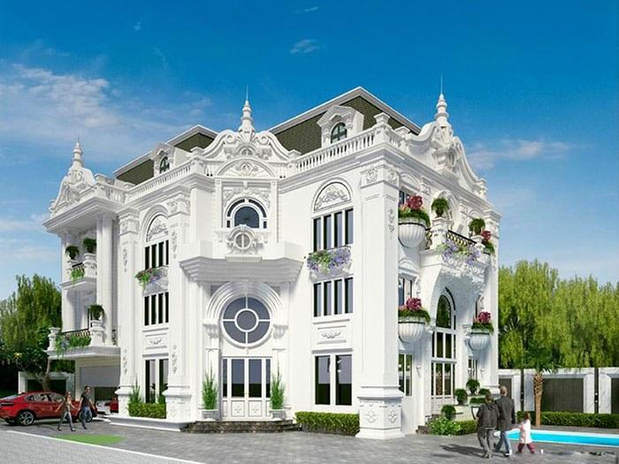 mẫu thiết kế biệt thự tông trắng