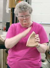 Photo: Margaret is getting ready to show how to reshape the bowl segments using...
