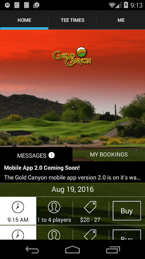 Gold Canyon Golf Tee Times- screenshot