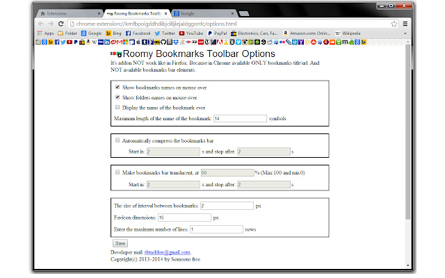 Roomy Bookmarks Toolbar