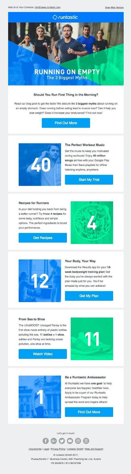 newsletter from Runtastic, a fitness app designed for athletes:
