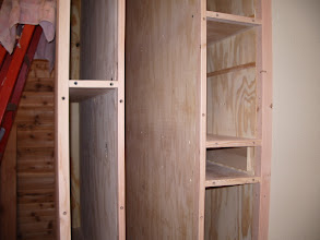 Photo: The shelves make this storage fairly versatile. On the right side, starting at the bottom, I can store half sheets of plywood. Just above that will be a drawer for storing dowels. Next, smaller offcuts, and above that is for quarter sheets.