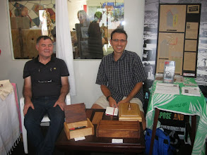 Photo: John and Ralph at a craft market promoting the wood work project
