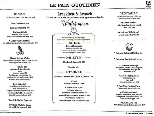 Le Pain Quotidien menu 5