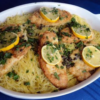 Chicken Francaise Over Spaghetti.