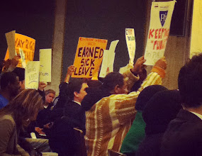 Photo: Proponents of the Paid Earned Sick Days movement showed their support at City Hall