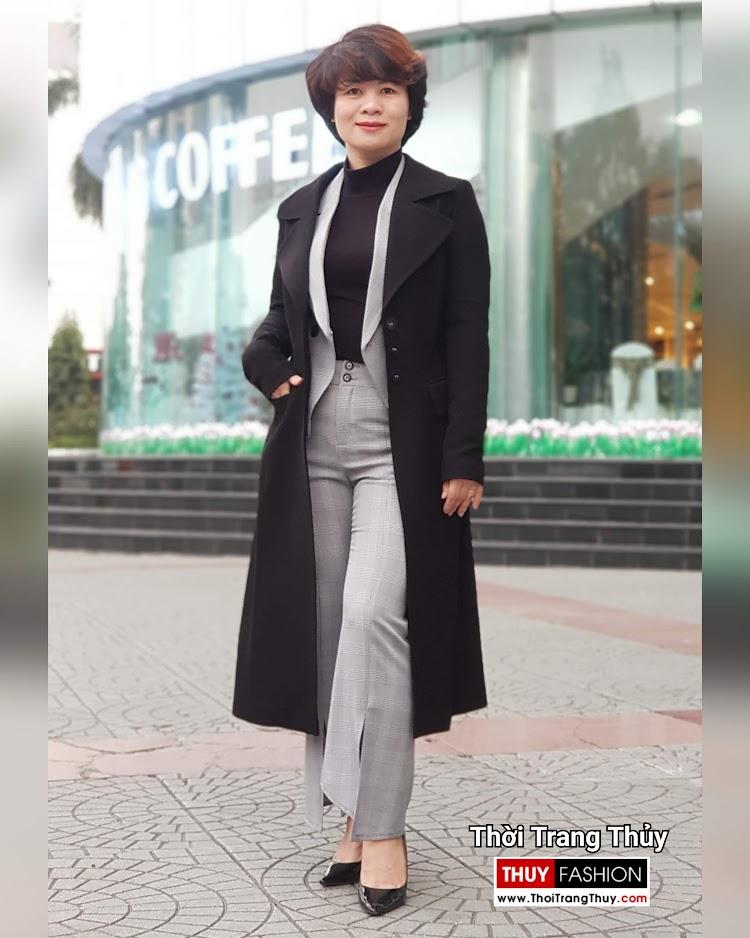 Áo khoác dạ nữ dáng dài màu đen cổ vest rộng V694 thời trang thủy hà tĩnh