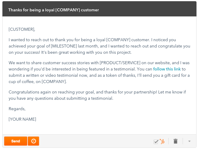 Hubspot asks for a review right after customers reach an important milestone.