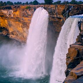 Falls by Mahul Mukherjee - Landscapes Waterscapes ( colour, water, falls, landscape, photo, river )