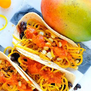 Beet Noodle Tacos with Mango Salsa