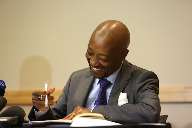 Tom Moyane during a press conference in illovo. Picture: ALON SKUY
