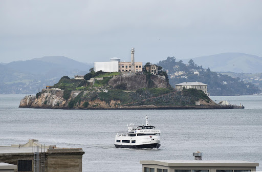 alcatraz-island-as-seen-from----1.jpg - Alcatraz Island and an Alcatraz ferry seen from the terminal at San Francisco's Ferry Building.