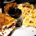 incredible chicken waffles at KUSH restaurant in Wynwood in Miami, Florida, United States