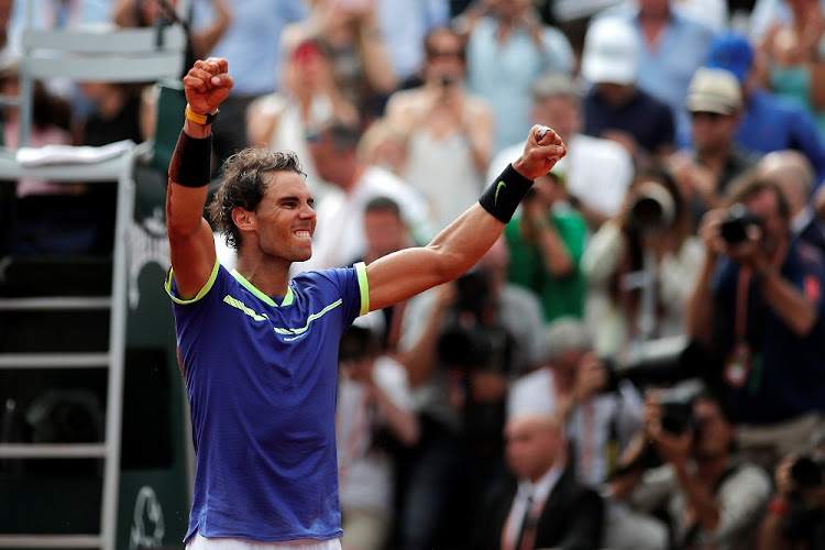 Spain's Rafael Nadal celebrates winning the final against Switzerland's Stan Wawrinka at Roland Garros, Paris, France, on Sunday. Picture: REUTERS