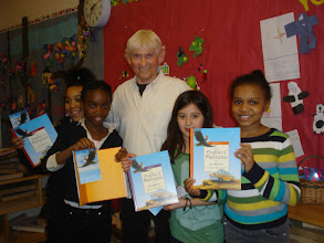 Photo: Chicago Author Joe Brown poses with 3rd graders after sharing his book The Flights of Marceau.