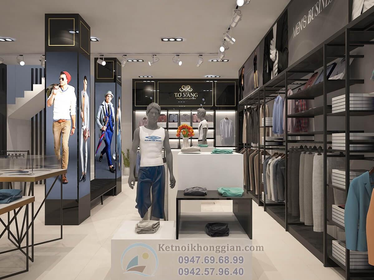 thiết kế cửa hàng thời trang trẻ trung hợp lý