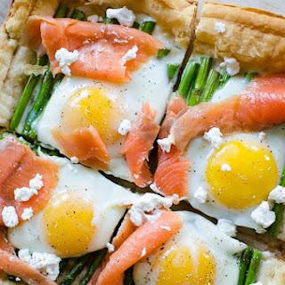 Asparagus and Egg Tart with Smoked Salmon.