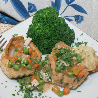 Chicken Pot Pie in Puff Pastry Shells