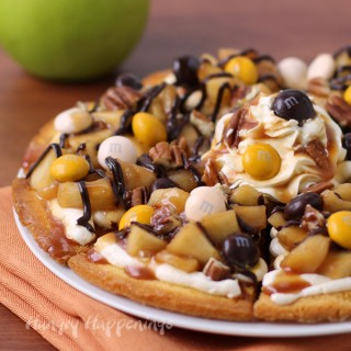 Caramel Apple Cake Chip Nachos Topped with M&M's® Pecan Pie