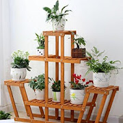flower pots from wood icon