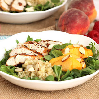 Grilled Chicken Peach and Quinoa Salad with Raspberry Vinaigrette.